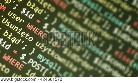 Software Development Monitor Screen Background. Developer Display With Source Code. Programming Conc