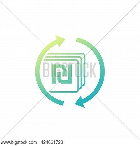 Shekel Exchange Icon, Israeli Money Vector Sign
