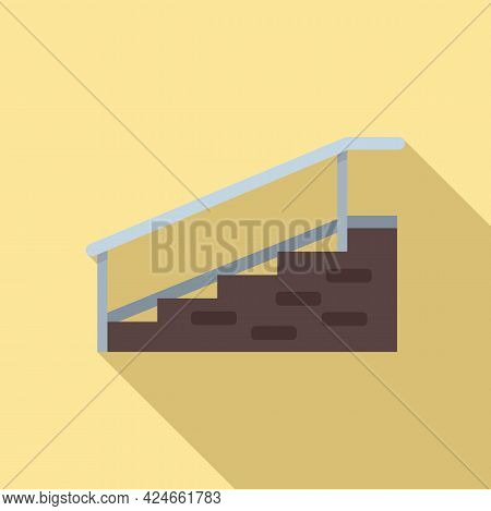 Hospital Stairs With Bar Icon. Flat Illustration Of Hospital Stairs With Bar Vector Icon For Web Des