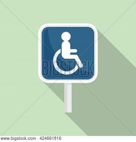 Handicapped Road Sign Icon. Flat Illustration Of Handicapped Road Sign Vector Icon For Web Design