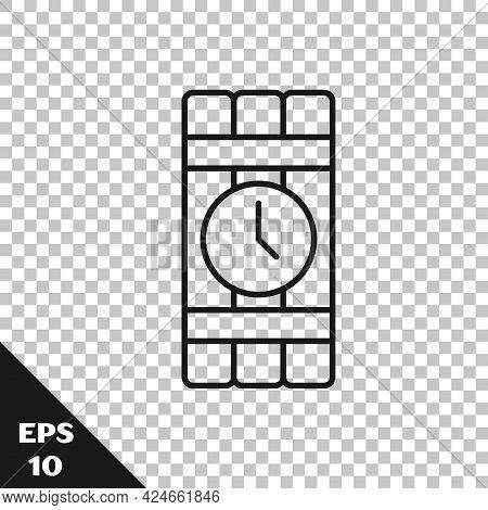 Black Line Detonate Dynamite Bomb Stick And Timer Clock Icon Isolated On Transparent Background. Tim