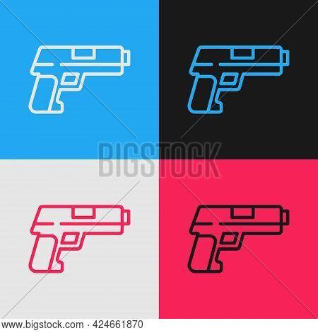 Pop Art Line Pistol Or Gun Icon Isolated On Color Background. Police Or Military Handgun. Small Fire