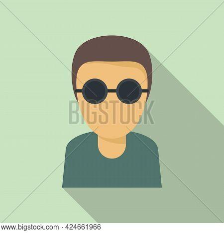 Blind Man Icon. Flat Illustration Of Blind Man Vector Icon For Web Design