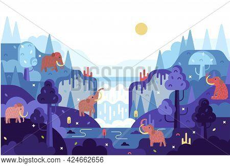 Woolly Mammoth In Flat Cartoon Stile - Panorama With Elephants Near Water