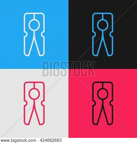 Pop Art Line Old Wood Clothes Pin Icon Isolated On Color Background. Clothes Peg. Vector