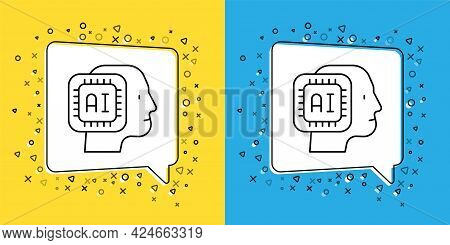 Set Line Humanoid Robot Icon Isolated On Yellow And Blue Background. Artificial Intelligence, Machin