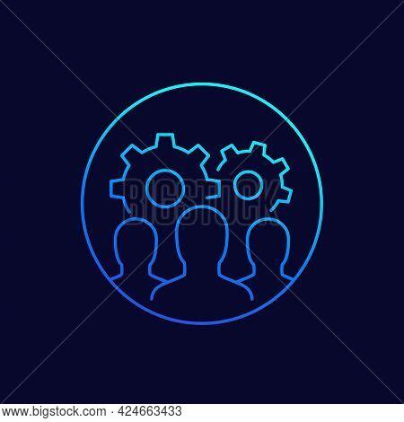 Team Interaction, Hr Concept Line Vector Icon
