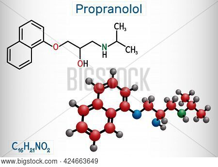 Propranolol Molecule. It Is Synthetic, Nonselective Beta Blocker, Used To Treat For Hypertension. St
