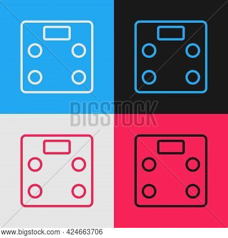 Pop Art Line Bathroom Scales Icon Isolated On Color Background. Weight Measure Equipment. Weight Sca