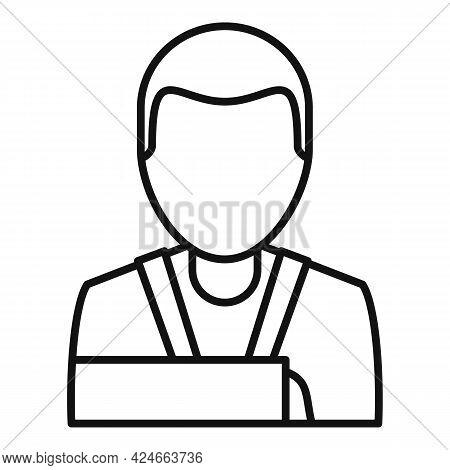 Man Hand Broken Icon. Outline Man Hand Broken Vector Icon For Web Design Isolated On White Backgroun