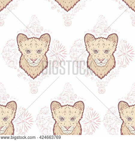 Vector Pastel Pink Cute Lion Cub On Flowerly Tiles Seamless Pattern Background. Perfect For Fabric,