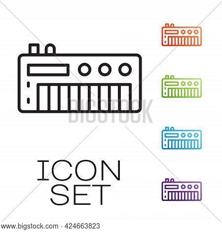 Black Line Music Synthesizer Icon Isolated On White Background. Electronic Piano. Set Icons Colorful