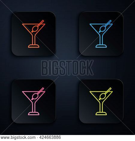 Color Neon Line Martini Glass Icon Isolated On Black Background. Cocktail Icon. Wine Glass Icon. Set