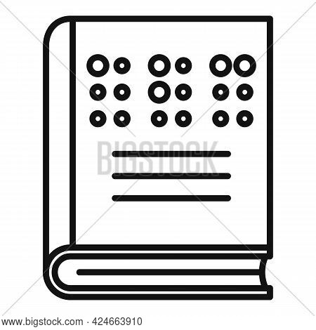 Book For Blind Icon. Outline Book For Blind Vector Icon For Web Design Isolated On White Background