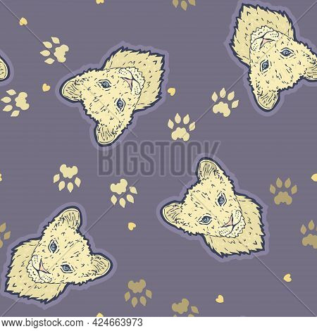 Vector Cute Lion Cub With Lion Paw Prints On Lavender Purple Seamless Pattern Background. Perfect Fo