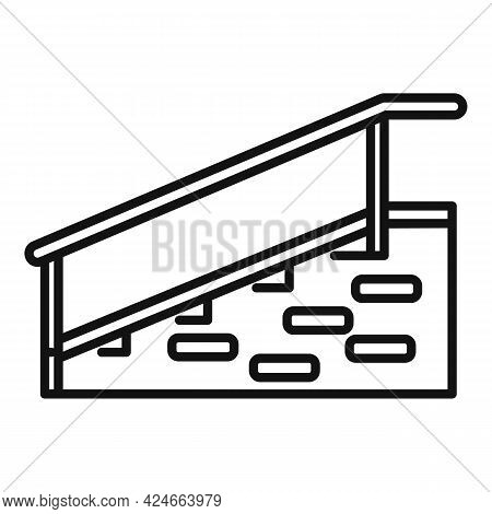 Hospital Stairs With Bar Icon. Outline Hospital Stairs With Bar Vector Icon For Web Design Isolated