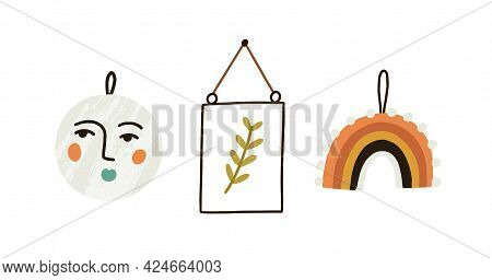 Wall Decoration Hanging On Strings. Botanical Picture In Frame, Ceramic Plate And Embroidery For Hyg