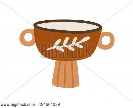 Clay Pot For Home Interior Decoration. Decorative Earthen Flowerpot. Trendy Planter For Houseplants.