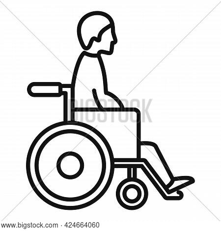 Man In Wheelchair Icon. Outline Man In Wheelchair Vector Icon For Web Design Isolated On White Backg