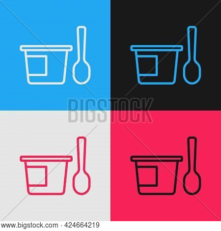 Pop Art Line Yogurt Container With Spoon Icon Isolated On Color Background. Yogurt In Plastic Cup. V