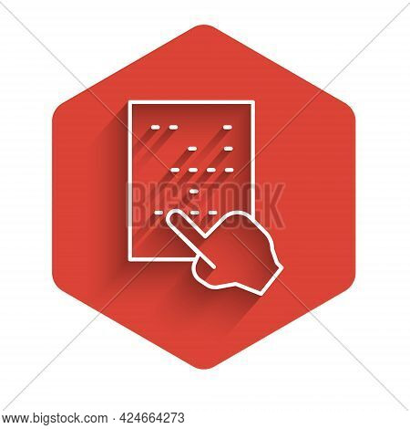 White Line Braille Icon Isolated With Long Shadow. Finger Drives On Points. Writing Signs System For