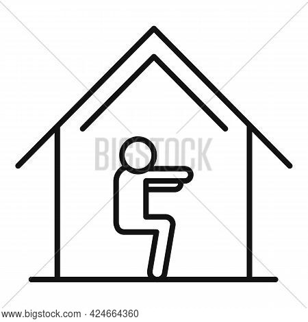 Home Training Fit Icon. Outline Home Training Fit Vector Icon For Web Design Isolated On White Backg