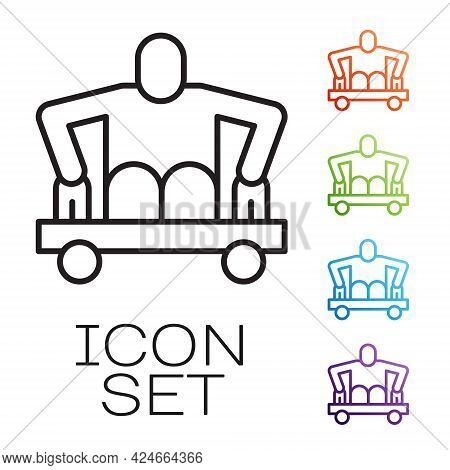 Black Line Man Without Legs Sitting Wheelchair Icon Isolated On White Background. Disability Concept