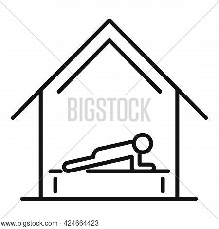 Home Training Plank Icon. Outline Home Training Plank Vector Icon For Web Design Isolated On White B
