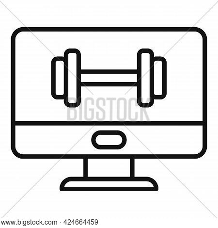 Home Training Pc Monitor Icon. Outline Home Training Pc Monitor Vector Icon For Web Design Isolated