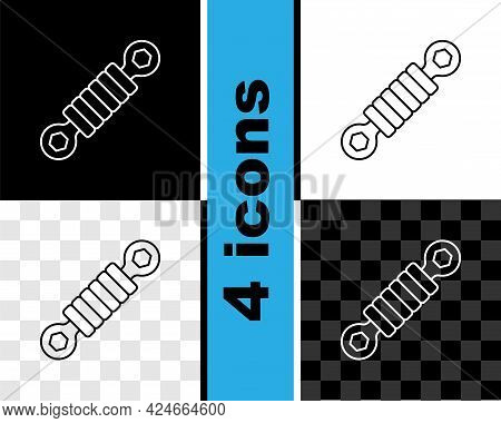 Set Line Shock Absorber Icon Isolated On Black And White, Transparent Background. Vector