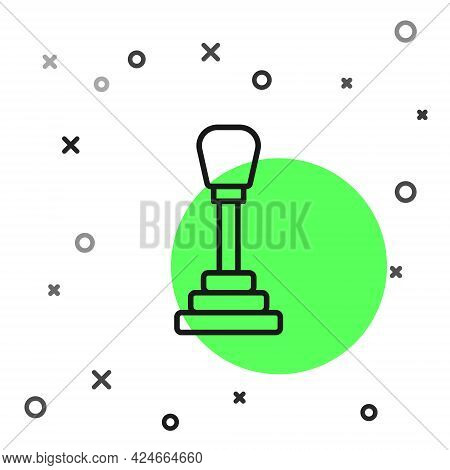 Black Line Gear Shifter Icon Isolated On White Background. Manual Transmission Icon. Vector