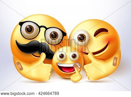 Emoji Family Covid Vaccine Vector Banner Design. Emoticon 3d Vaccinated Family Characters In Happy A