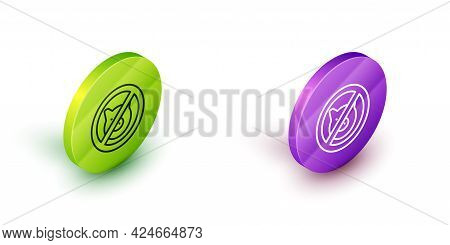 Isometric Line No Pig Icon Isolated On White Background. Stop Pork. Animal Symbol. Green And Purple