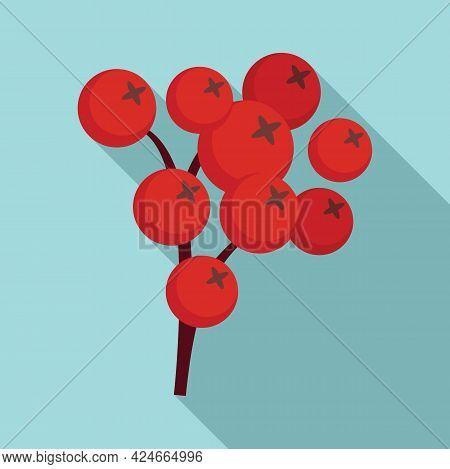 Rowan Forest Berry Icon. Flat Illustration Of Rowan Forest Berry Vector Icon For Web Design