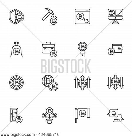 Bitcoin Cryptocurrency Line Icons Set, Fintech Outline Vector Symbol Collection, Linear Style Pictog