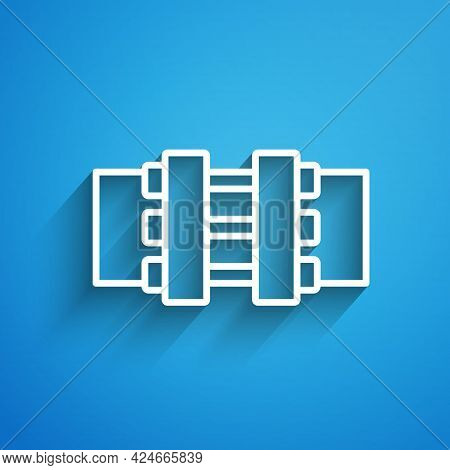 White Line Industry Metallic Pipes And Valve Icon Isolated On Blue Background. Long Shadow. Vector