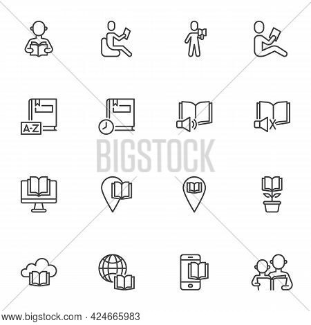 Book Reading Line Icons Set, Education Outline Vector Symbol Collection, Linear Style Pictogram Pack