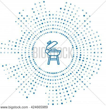 Blue Line Barbecue Grill Icon Isolated On White Background. Bbq Grill Party. Abstract Circle Random