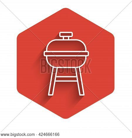 White Line Barbecue Grill Icon Isolated With Long Shadow Background. Bbq Grill Party. Red Hexagon Bu