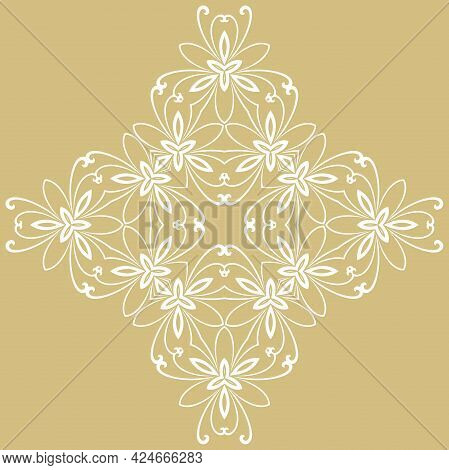 Floral Vector Pattern With Arabesques. Abstract Oriental Golden And White Ornament. Vintage Classic