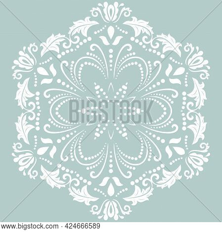 Oriental Vector Pattern With Arabesques And Floral Elements. Traditional Classic Round Light Blue An