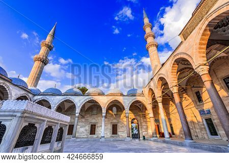 Istanbul, Turkey. The Courtyard Of Suleymaniye Mosque, Largest Mosque Of Ottoman Empire In Constanti