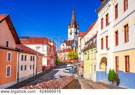 Sibiu, Romania. Historical Downtown Of Medieval Saxon City In Famous Transylvania, Travel Site In Ea