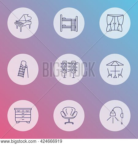 Furniture Icons Line Style Set With Double Decker Bed, Drawer Unit, Curtain And Other Drape Elements