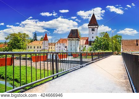 Agnita, Transylvania In Romania. Medieval Saxon Church In Eastern Europe, German European Heritage.