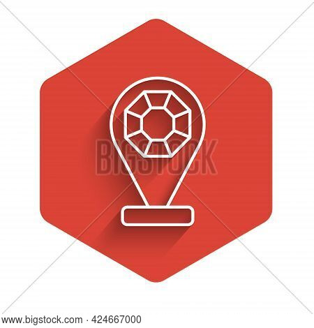 White Line Front Facade Building Jewelry Store Icon Isolated With Long Shadow Background. Red Hexago
