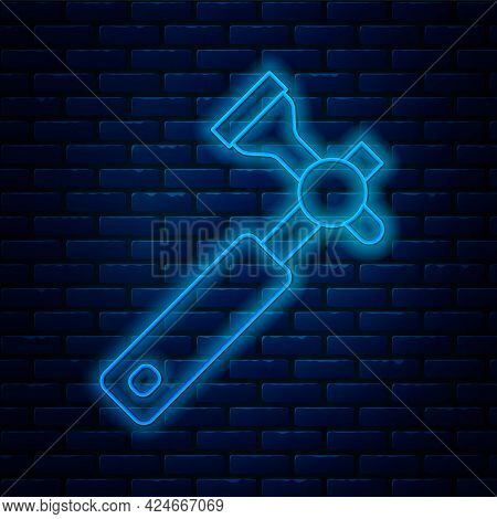 Glowing Neon Line Jewelers Lupe For Diamond Grading With Dimond Icon Isolated On Brick Wall Backgrou