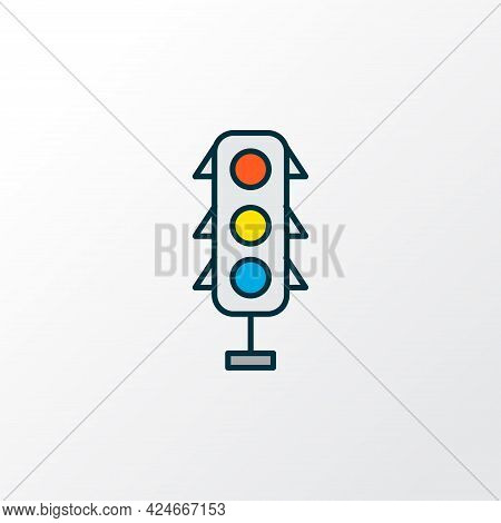 Traffic Lights Icon Colored Line Symbol. Premium Quality Isolated Stoplight Element In Trendy Style.
