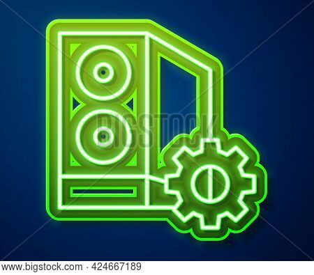 Glowing Neon Line Case Of Computer Setting Icon Isolated On Blue Background. Computer Server. Workst
