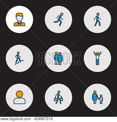 Human Icons Colored Line Set With Profile, Couple, Man With Bags And Other Happy Boy Elements. Isola